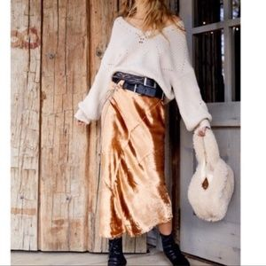NWOT Free People Gold Serious Swagger Skirt S